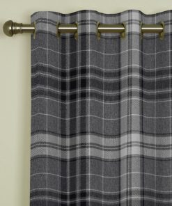Argyle Charcoal Eyelet Curtains
