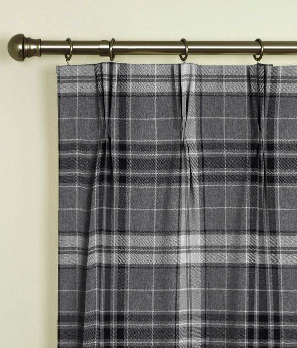 Argyle Charcoal Pinch Pleat Curtains