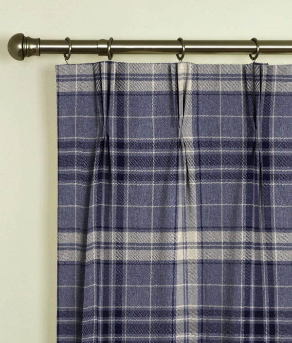 Argyle Denim Pinch Pleat Curtains