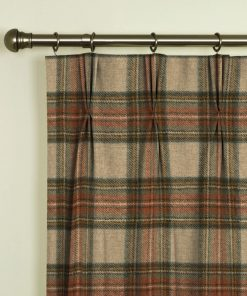 Moons Turnberry Check Terracotta Pinch Pleat Curtains