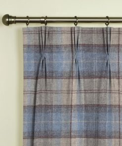 Moons Vintage Check Duckegg Pinch Pleat Curtains